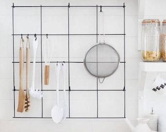 Kitchen Utensil Holder, Organizer Kitchen Tool, Black MemoBoard, Kitchen  Wire Wall Grid,
