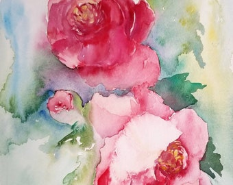 Pink flower painting etsy peonies watercolor paintingpink floral wall artoriginal watercolor peony artwatercolor peony flowerspeony artpink flowernursery decor mightylinksfo