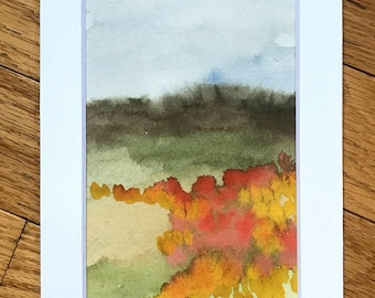 Small Landscape watercolor, abstract painting, small artwork, abstract landscape, landscape painting, watercolor landscape, floral artwork,