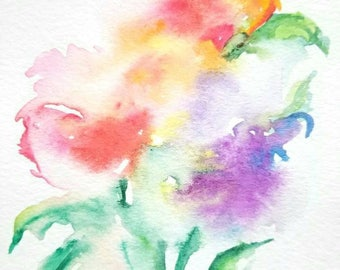 abstract flower watercolor painting, original wall art, original flower art, contemporary watercolor painting, abstract flowers,original art