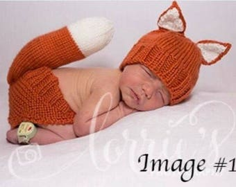 Knit Fox Newborn Outfit - Diaper Cover & Hat