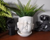 Quirky Baby Head Ceramic White Plant Pot, Plant Holder, Eclectic Decor, Baby Head Planter