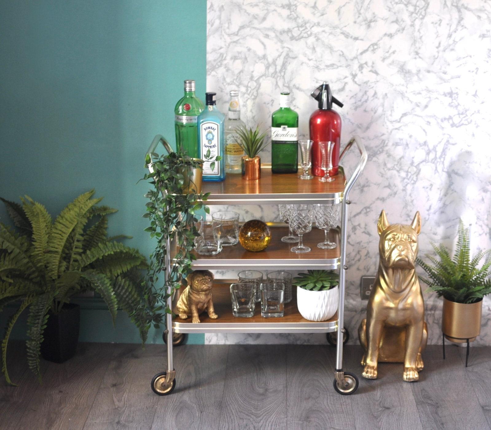retro bar cart men's bar amazing vintage retro 1960s tier wood grain drinks cart bar tea trolley trolley
