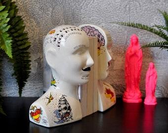 Quirky Split Tattooed Phrenology Head Bookends | Kitsch Decor | Eclectic Decor | Gift Idea | Retro Tattoos