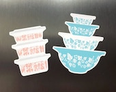 Rare Pyrex Set Magnets - Vintage Pyrex, Pink Butterprint, Turquoise Gooseberry