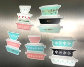 Rare Pyrex Magnets - Vintage Pyrex, Lucky in Love, Pink Stems, Starburst, Clover Berry, Scroll, Gold Birds, Diamonds