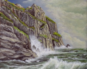 """Original painting seascape """"from the bottom of the cliff"""" acrylic painting on canvas"""