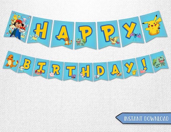 pokemon banners pokemon happy birthday banners pokemon etsy