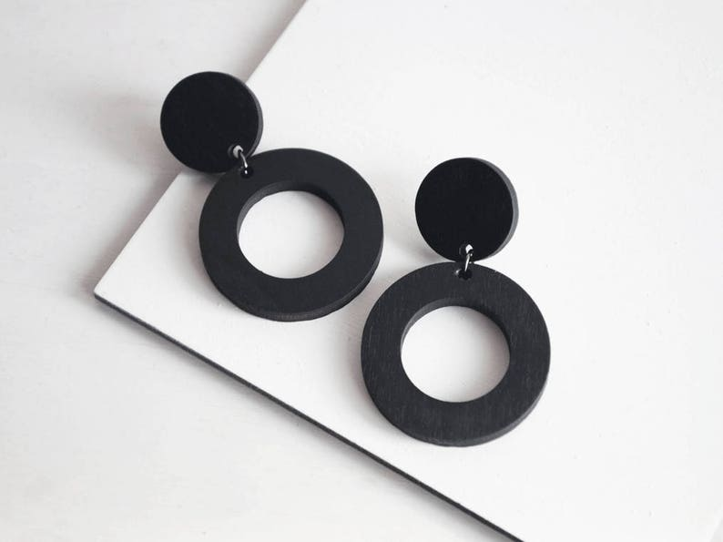 Wooden earrings 925 silver jewelry Statement Drop Earrings Minimal drop earrings two circles Wooden and sterling