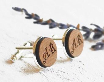Monogram Cufflinks, Initial Cufflinks, Personalised Cufflinks, Wood Cufflinks, Monogrammed Cufflinks, Dad Husband Boyfriend Engraved Gift