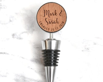 Custom Engraved Bottle Stopper, Personalised Engagement Gift, Couples Anniversary Gift, New Home Gift, Newlyweds Gift, Wine Bottle Stopper