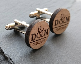 Custom Cufflinks, Wedding Cufflinks, Groom Cufflinks, Mens Cufflinks, Groomsmen Cufflinks, Personalized Cufflinks, Wood Cufflinks