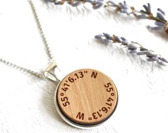 Custom Coordinates Necklace - Latitude Longitude - Location Necklace - Custom Engraved Gift For Her