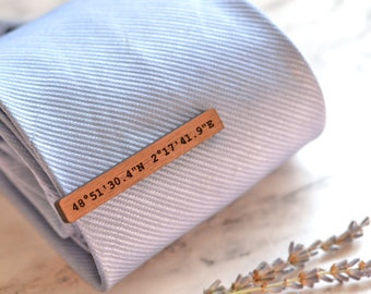 Coordinates Gift, Tie Clip, Wood Tie Bar, Custom Coordinates Gift, Coordinates Jewelry for Him, Wedding Tie Clip, Custom Tie Bar, Groom Gift