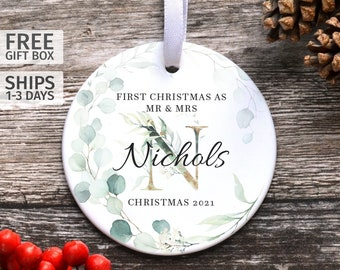 Personalised First Christmas Married Ornament, Ceramic Marriage Keepsake, Newly Married Couple Gift, First Christmas As Mr & Mrs Keepsake