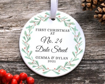 Personalised First Christmas In Our New Home Ornament, Housewarming Gift, New Home Bauble, Ceramic Decoration Address, First House Keepsake