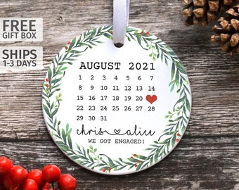 Personalised Calendar Ornament, Engagement Keepsake Gift, First Christmas Engaged Married, Special Date Calendar, Ceramic Decoration