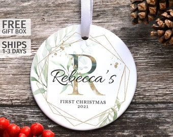 Personalised Baby's First Christmas Decoration, New Baby Ceramic Keepsake, First Christmas Bauble, Children's Christmas Decorations
