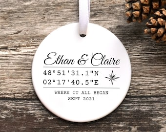 Personalised Coordinates Keepsake, Couple Gift, Ceramic Ornament Special Location, New Home, Wedding Engagement Christmas Decoration