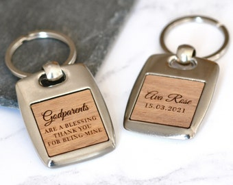 Personalised Godparent Gift, Gift for Godfather Godmother, Thank You Gift, Engraved Keyring