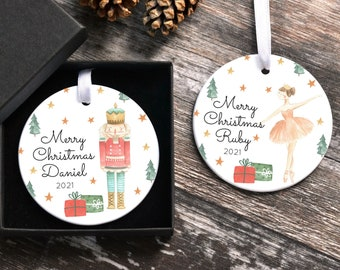 Personalised First Christmas Decoration, Ceramic Children's Christmas Tree Ornaments, New Baby Keepsake Gift, Kids Christmas Decorations