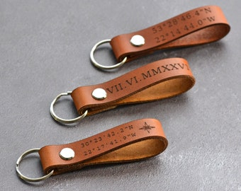 Custom Coordinates Keychain, Personalized Leather Key Chain, Leather Loop Keyring, 3rd Anniversary Gift for Him or Her