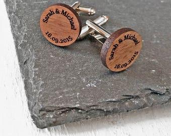 Custom Cufflinks Wedding Cufflinks Wood Cufflinks Mens Cufflinks Groom Cufflinks Personalised Cufflinks