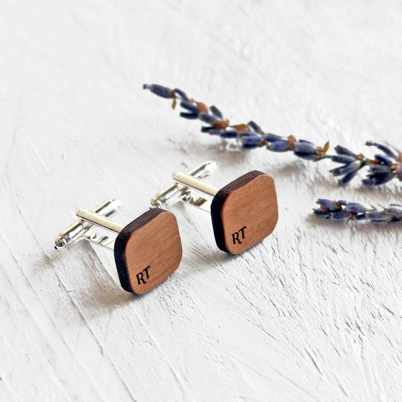 Monogrammed Cufflinks Subtle Rustic Initials Cufflinks Custom Cufflinks Cufflinks Personalised Wooden Cufflinks