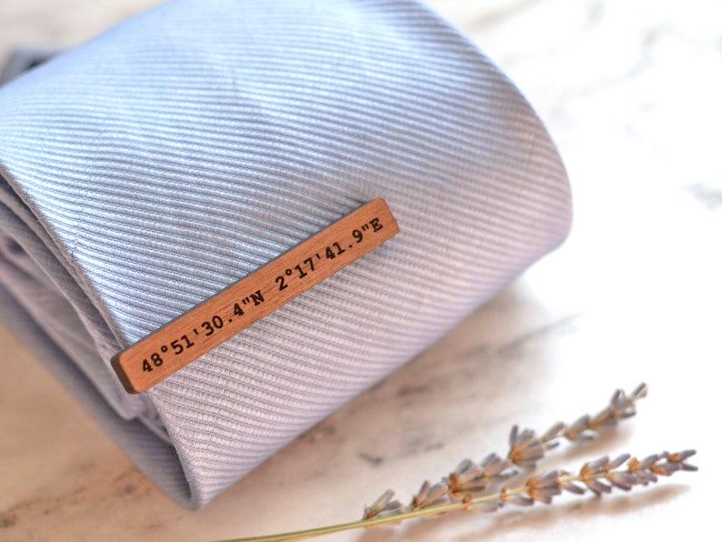 1dcb9cf43000 Coordinates Gift Tie Clip Wood Tie Bar Custom Coordinates | Etsy