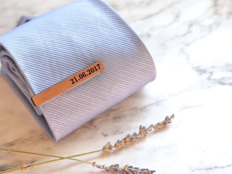0bb10f1d7fcc Wood Tie Bar Engraved Tie Clip Wedding Date Wedding Tie | Etsy