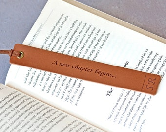 Leather Bookmark, Retirement Gift, Leaving Gift, University College Personalised Graduation Gift, New Job Congratulations Gift, New Chapter