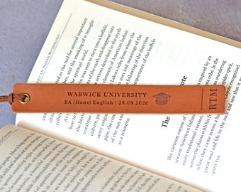 Personalised Graduation Gift, Custom Leather Bookmark, Masters College Grad Gifts, PhD Gift for Student, University Graduation Present