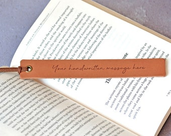 Actual Handwriting Bookmark, Custom Handwriting Gift, Personalised Leather Bookmark, Signature Memorial Keepsake, Loved Ones Handwriting