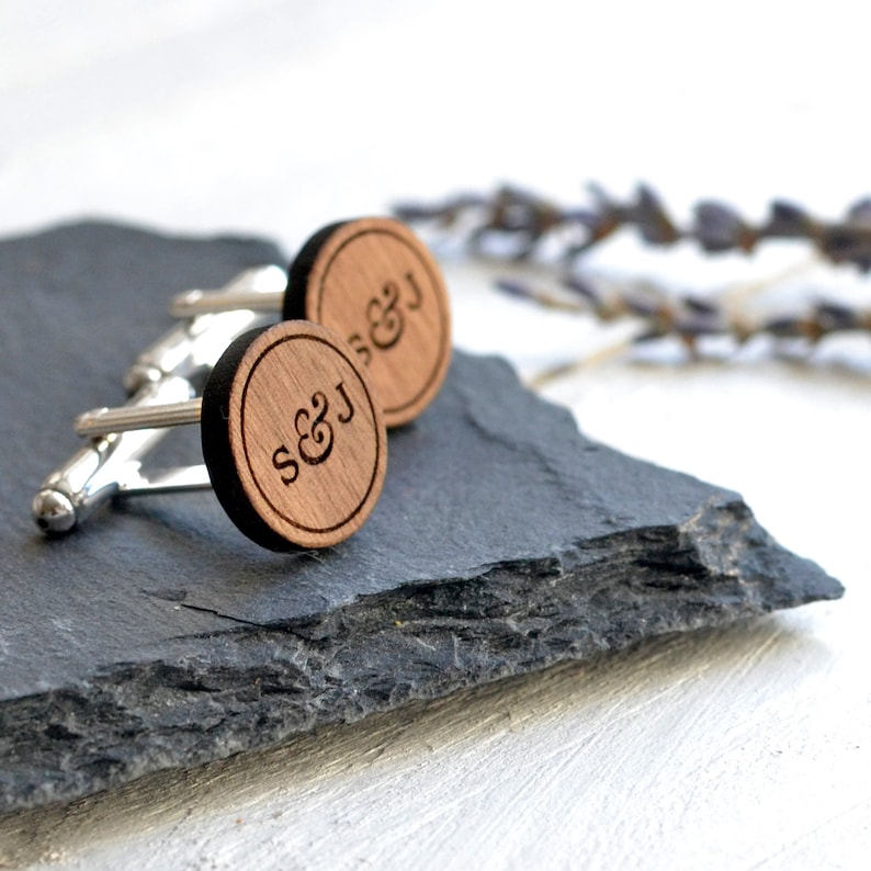 Custom Cufflinks Groom Cufflinks Wedding Cuff links Wedding Anniversary Gift Wood Personalised Cufflinks Engraved Cufflinks