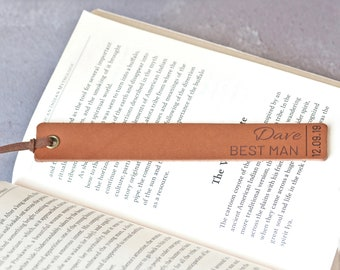 Groomsmen Gifts, Wedding Party Gifts, Gift for Best Man, Personalised Bookmark, Father of the Bride Gift, Leather Bookmark