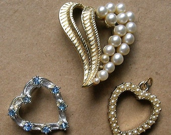 Lot Heart Brooches // One Pendant