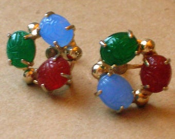 Vintage Scarab Earrings // Screw Back