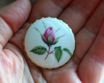 Vintage Pink Rosebud Brooch // Hand Painted Porcelain