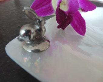 Mother of Pearl Dish with silver bunny