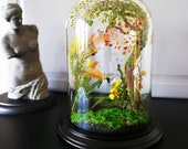 Enchanted forest terrarium and blue butterfly fairy in autumn, handmade, Cabinet of curiosities, Christmas gift