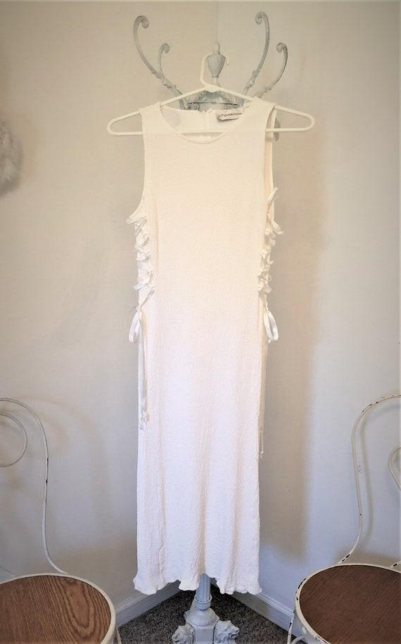 Vintage White Crepe Side Corset Lace Up Dress - image 3
