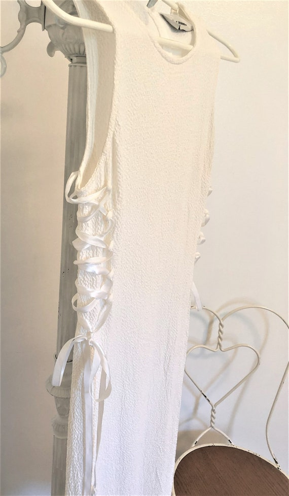 Vintage White Crepe Side Corset Lace Up Dress - image 2