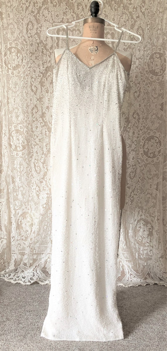 Vintage White Beaded Evening Gown, Silver Beads, F