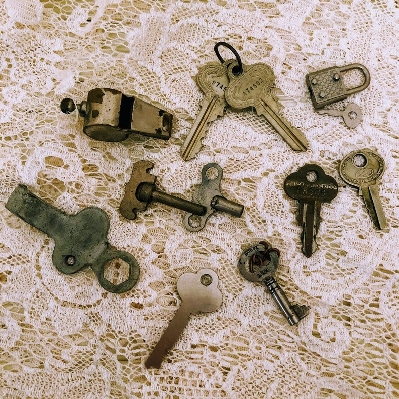 Clock Key Vintage Lot of Keys and One Whistle and One Tiny Lock Skate Key Whimsical Keys