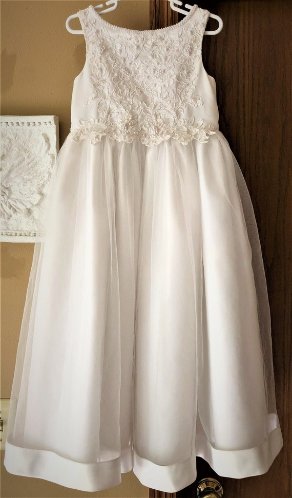 Vintage Junior Bridesmaid Dress, White Formal Dres