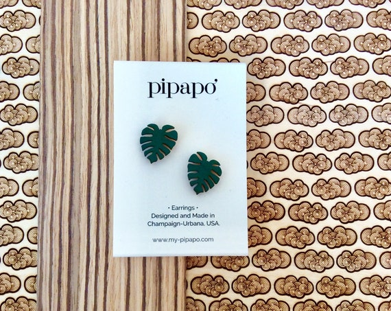 Modern Monstera Leaf Earrings [100% Nickel Free]
