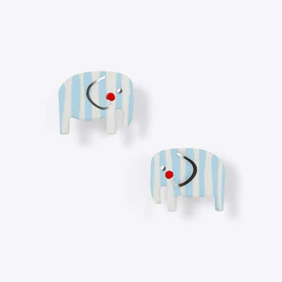 Light Blue + White Striped Elephant Earrings
