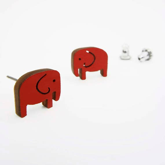 Red Elephant Stud Earrings