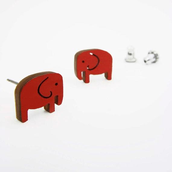 Red Elephant Stud Earrings