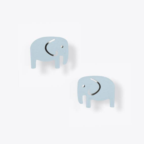Light Blue Elephant Stud Earrings
